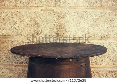 old barrel table with copy space, this version has a vintage effect