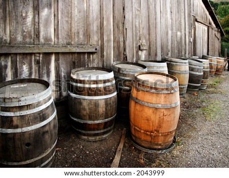 Old barrels at the California winery - stock photo
