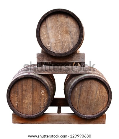 Old barrels isolated on white. - stock photo