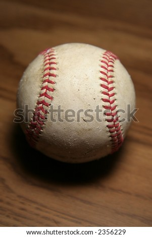 Old baseball against wooden background