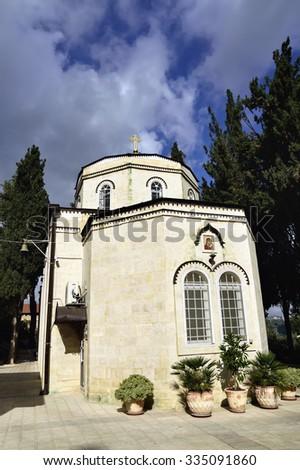 Old basilica of Russian Orthodox church in Ein Kerem, Jerusalem. - stock photo