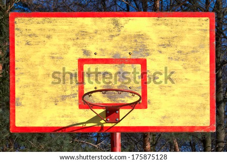 old basketball backboard and ring without grid - stock photo