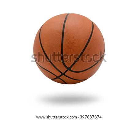 Old Basketball ball on white background - stock photo