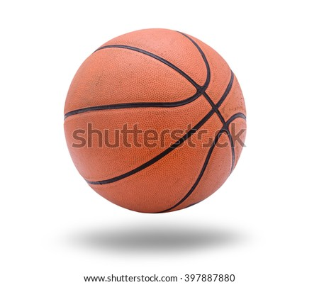 Old Basketball ball on white background - stock photo