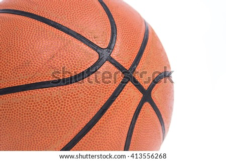 Old basketball basket ball isolate on over white background - stock photo