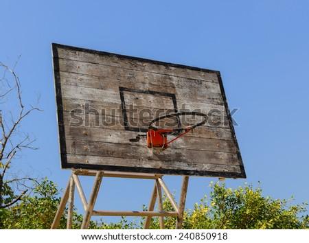 Old Basketball hoop. - stock photo