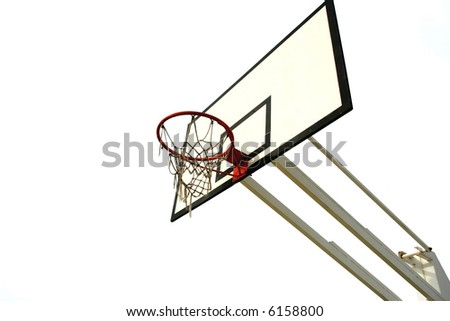 old basketball net isolated in white background - stock photo