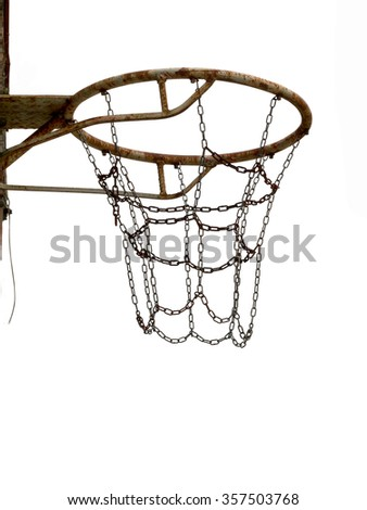 Old basketball, netball net, basket for sport. Isolated over white. Attached to wall. Rusty, unused.  - stock photo
