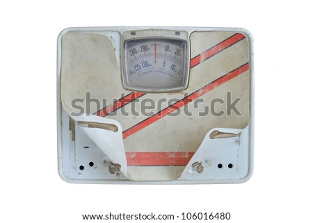 old bathroom scale on white background - stock photo