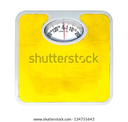 Old bathroom scale on white background