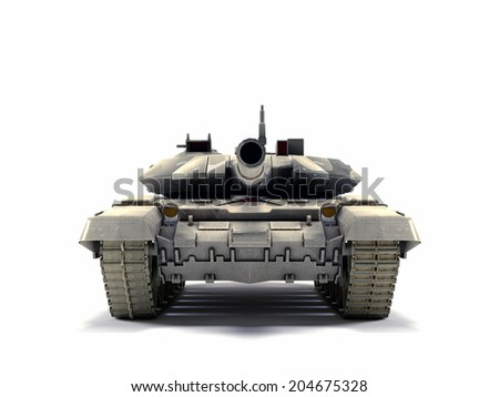 Old battle Tank isolated on white background - stock photo