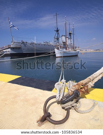 old battleship Averoff of the royal Greek navy - stock photo