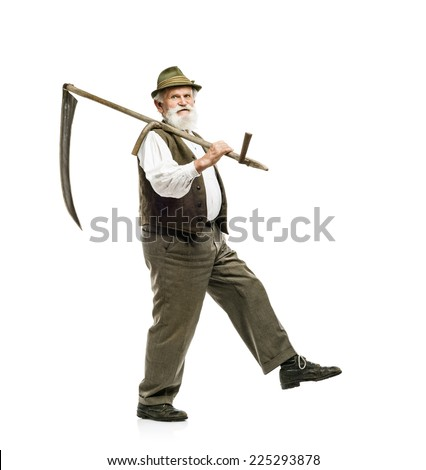 Old bearded bavarian man in hat holding scythe in his hand, isolated on white background - stock photo