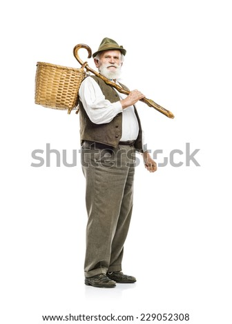Old bearded farmer man in hat holding basket, isolated on white background - stock photo