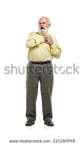 Old bearded man having chest pain isolated on white background - stock photo