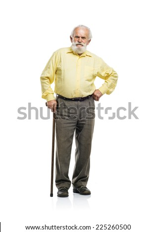 Old bearded man walking with cane isolated on white background