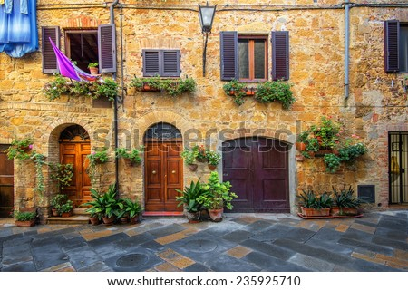 Old beautiful city in the sun of Tuscany, Pienza, Italy - stock photo