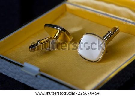 old beautiful cufflinks - stock photo
