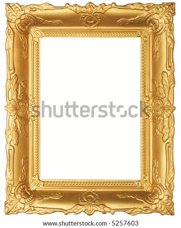 Old beautiful ornated golden antique frame. Isolated on white - stock photo