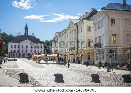 Old beautiful townhall in Tartu, Estonia