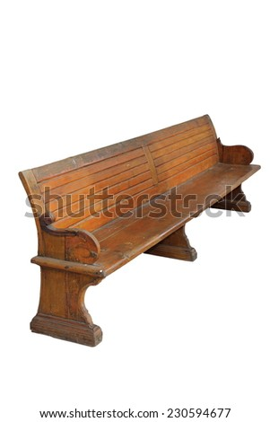 old beautiful wooden bench, isolation on white background, ready for your design