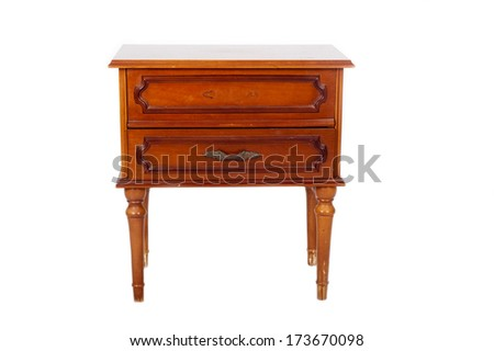 Old bedside table isolated on white background