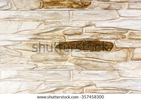 Old beige bricks wall pattern - background - stock photo