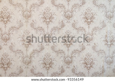 Old beige wallpaper for texture or background