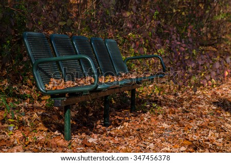 Old bench in the autumn park. On and around the bench are yellow autumn leaves. - stock photo