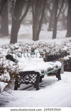 old bench in winter park - stock photo