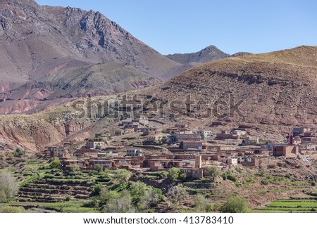 Old berber village in Atlas mountains, Morocco - stock photo