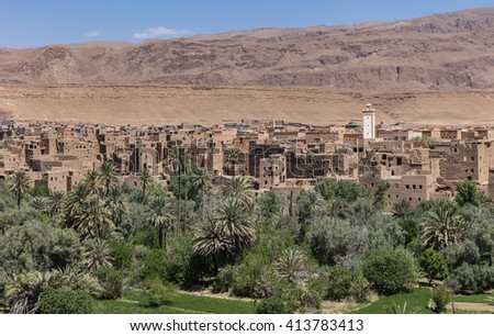 Old berber village in desert oasis, Morocco