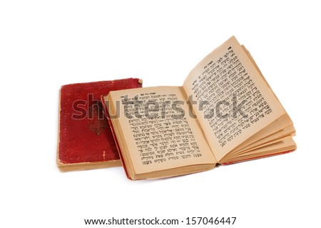 old bible book with hebrew text, open, isolated on white background