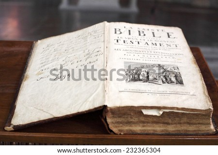 old Bible edition in chirch - stock photo