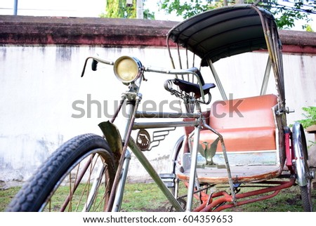 Old bicycle for transport people
