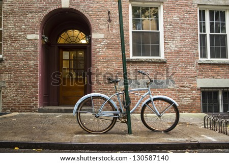 Old bicycle in Greenwich Village, New York City - stock photo