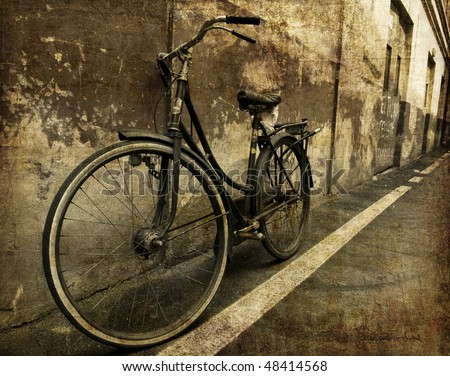 Old bicycle in invoice wall artwork