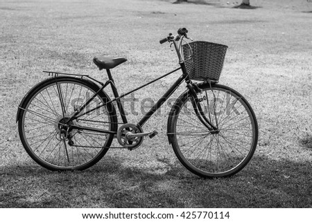 Old bicycle in park, Black and white