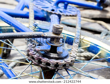 Old bicycle's rear gear set.