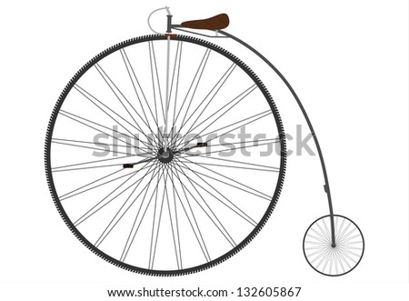 Old bicycle with a big wheel on a white background.