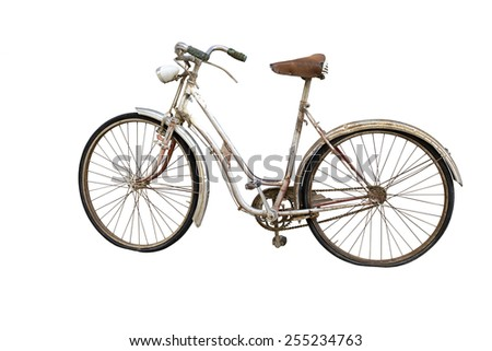 Old bicycle with  deflated weels isolated on white