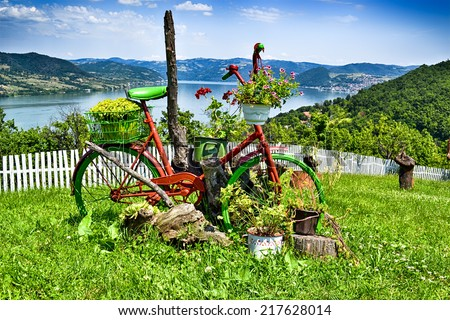 Old bicycle with flower baskets standing in the garden in front of Danube river, Serbia. - stock photo
