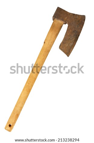 Old big axe isolated on white.  - stock photo