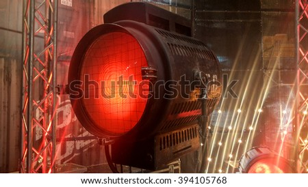old big vintage cinema and movie red luminaire - stock photo