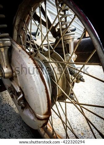 Old bike wheels, motorcycle, bike, old - stock photo