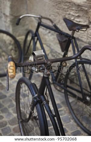 Old bikes in a flea market - stock photo