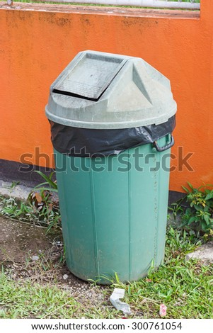 Old bin, have green color - stock photo