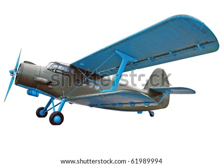 Old biplane, isolated on white - stock photo