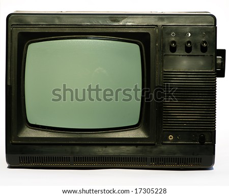 old black and white domestic televisor isolated