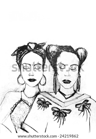 old black and white hand drawing of two woman with eyes closed